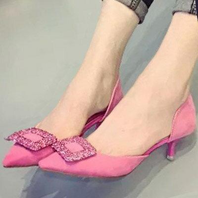 涼鞋 歐美華麗水鑽方扣尖頭低跟鞋【S1138】☆雙兒網☆ 1