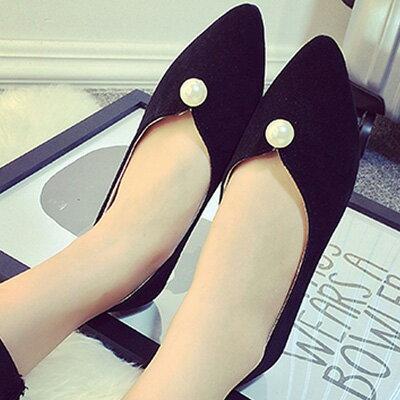 尖頭鞋 優雅簡約珍珠平底尖頭鞋包鞋【S1205】☆雙兒網☆ 3