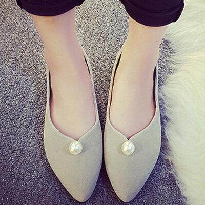 尖頭鞋 優雅簡約珍珠平底尖頭鞋包鞋【S1205】☆雙兒網☆ 0
