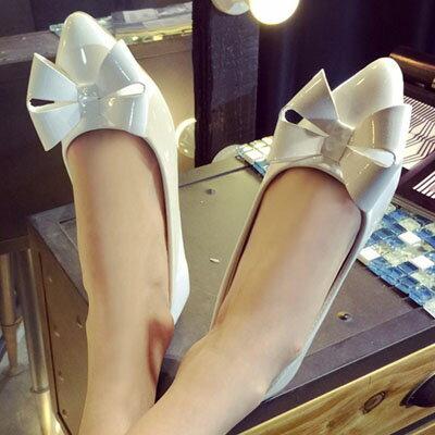 平底鞋  甜美蝴蝶結尖頭平底鞋【S1248】☆雙兒網☆