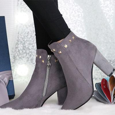短靴 歐美流行絨布鉚釘尖頭短靴【S1433】☆雙兒網☆ 0