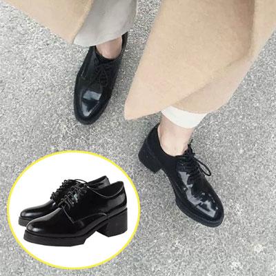 牛津鞋 百搭漆皮綁帶素色低跟休閒鞋【S1454】☆雙兒網☆ 2