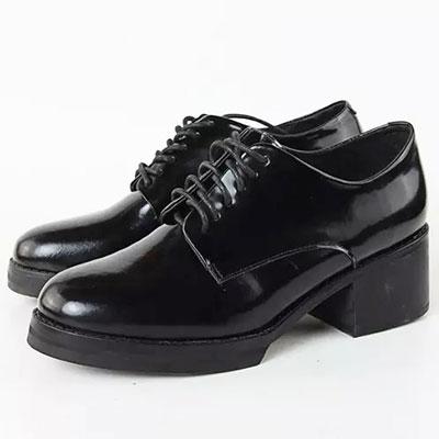牛津鞋 百搭漆皮綁帶素色低跟休閒鞋【S1454】☆雙兒網☆ 0