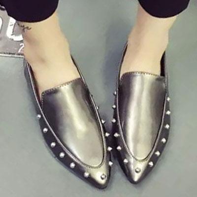 平底鞋 明星最愛質感鉚釘尖頭平底鞋【S1500】☆雙兒網☆ 2