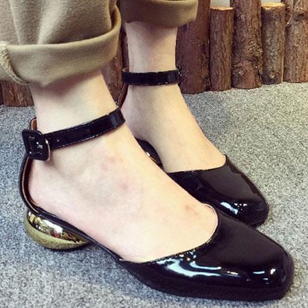 跟鞋 優雅名媛漆皮方頭金屬涼鞋【S1548】☆雙兒網☆ 4