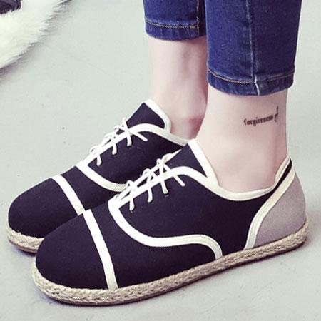休閒鞋 歐美復古雙色線條草編平底鞋【S1549】☆雙兒網☆ 1