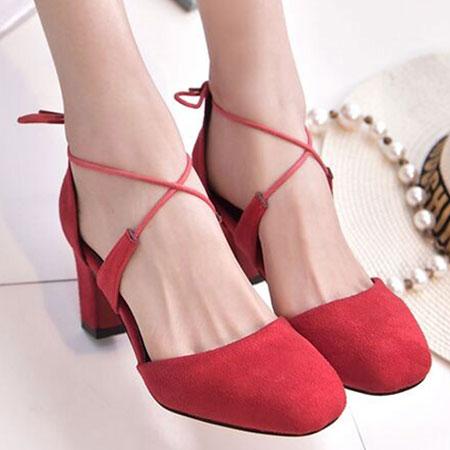 高跟鞋 甜美性感綁帶圓頭粗高跟鞋【S1574】☆雙兒網☆ 0