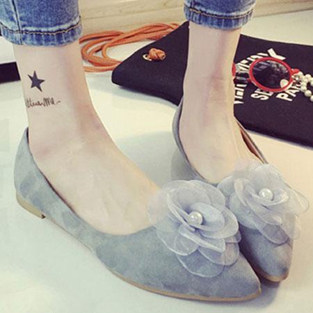 尖頭鞋 浪漫珍珠花朵尖頭平底包鞋【S1583】☆雙兒網☆ 2