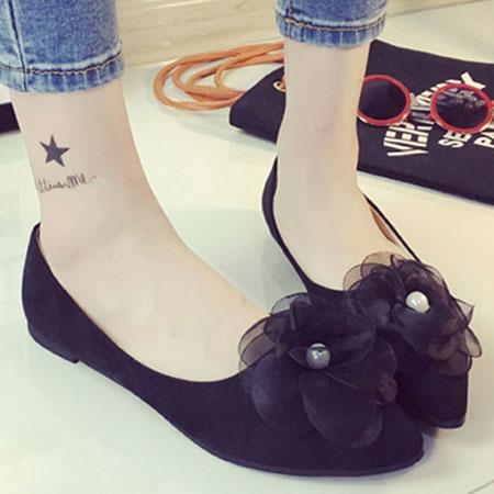 尖頭鞋 浪漫珍珠花朵尖頭平底包鞋【S1583】☆雙兒網☆ 3