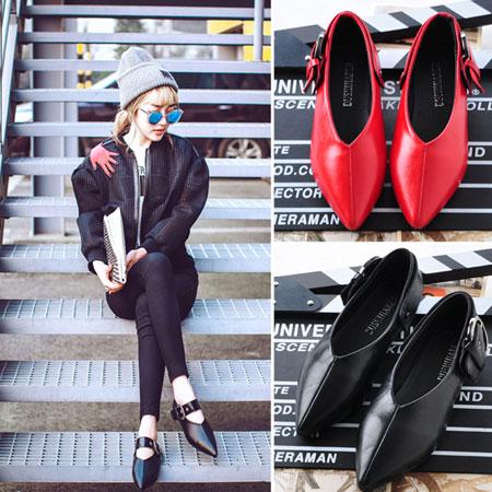 尖頭鞋 香港大牌V型金屬扣環尖頭鞋【S1586】☆雙兒網☆