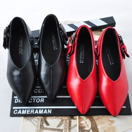 尖頭鞋 香港大牌V型金屬扣環尖頭鞋【S1586】☆雙兒網☆ 1