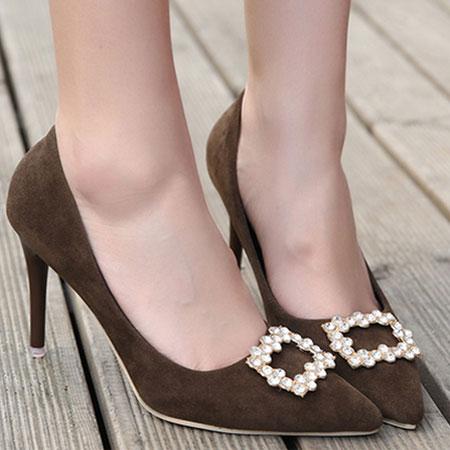 高跟鞋 輕熟質感絨布水鑽尖頭高跟鞋【S1602】☆雙兒網☆ 1