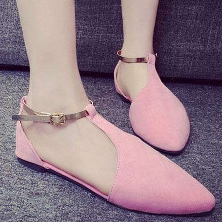 涼鞋 甜美側簍空金屬繫帶平底涼鞋【S1603】☆雙兒網☆