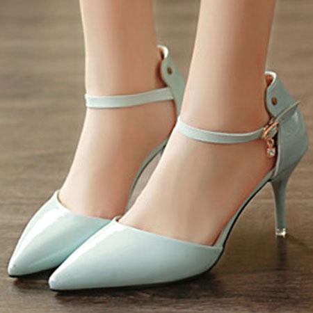 高跟鞋 甜美漆皮水鑽繫帶尖頭高跟涼鞋~S1615~~雙兒網~