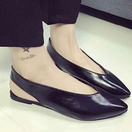 涼鞋 歐美時尚皮革素色尖頭涼鞋【S1617】☆雙兒網☆ 0