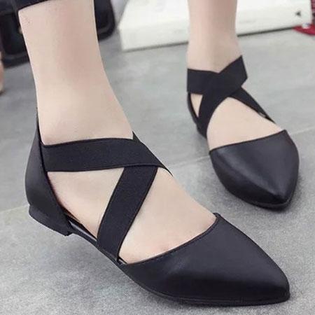 涼鞋 質感皮革交叉綁帶尖頭涼鞋【S1644】☆雙兒網☆ 0