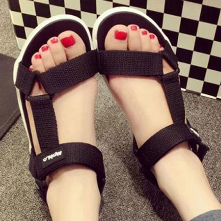 涼鞋 時尚率性三角環魔鬼氈平底涼鞋【S1650】☆雙兒網☆ 0
