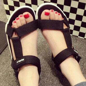 涼鞋 時尚率性三角環魔鬼氈平底涼鞋【S1650】☆雙兒網☆