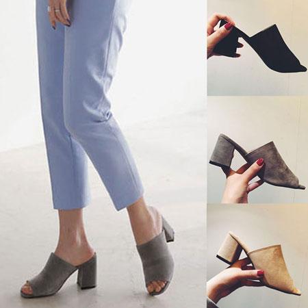 拖鞋 簡約磨砂粗高跟拖鞋~S1655~~雙兒網~