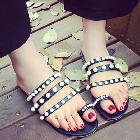 拖鞋 典雅唯美珍珠皮革平底拖鞋【S1667】☆雙兒網☆ 2