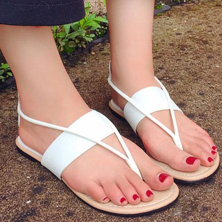 拖鞋 時尚素色皮革夾腳平底涼鞋【S1669】☆雙兒網☆