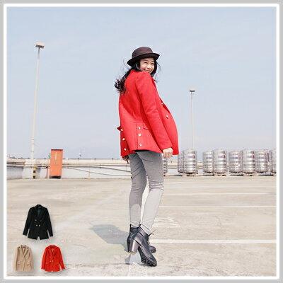 ☆雙兒網☆NaughtyTrick【c2017】韓國雙排單扣超顯瘦毛尼長版西裝外套