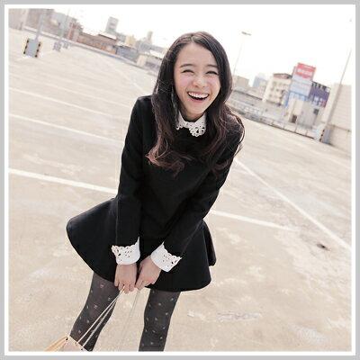 ☆雙兒網☆NaughtyTrick【d2015】日系女孩拼皮燒花領保暖硬挺尼料修身傘洋裝