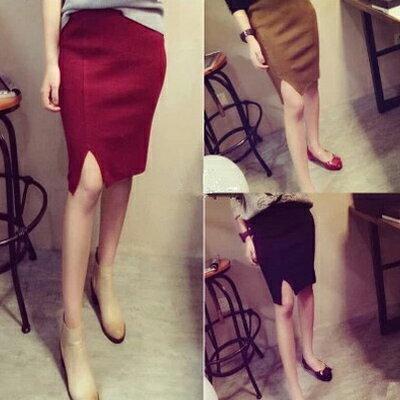時尚性感前開衩針織短裙【D2704】☆雙兒網☆ 1