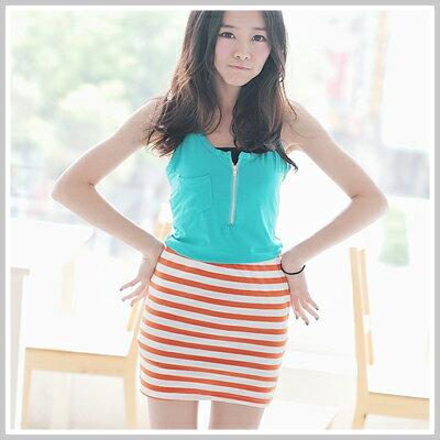 ☆雙兒網☆ Sunshine.現貨+預購【D519】搭配必備腰間彈性條紋短裙-共3色