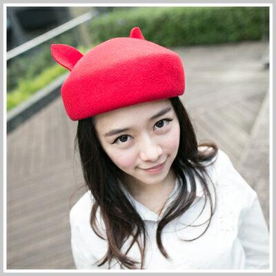 ☆雙兒網☆ City mood 【o1004】日本超萌Lena時尚搭配動物貓耳朵造型貝蕾毛尼帽