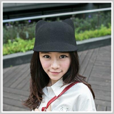 ☆雙兒網☆ City mood 【o1106】Lena愛用超萌可愛立體貓耳毛尼馬術小圓帽