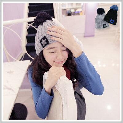 ☆雙兒網☆ Kitty girl 【o1128】韓國李孝利反折星星球球毛線帽