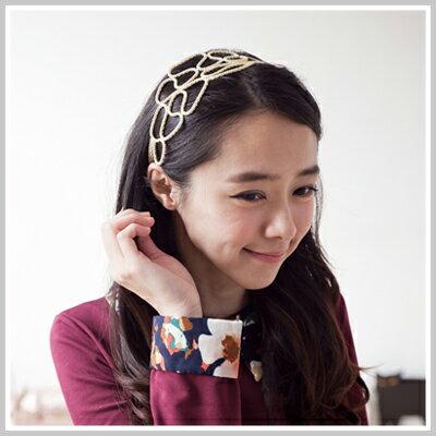 雙兒網:☆雙兒網☆Lazyorpretty【o2069】華麗巴洛克風金色大花瓣造型髮帶