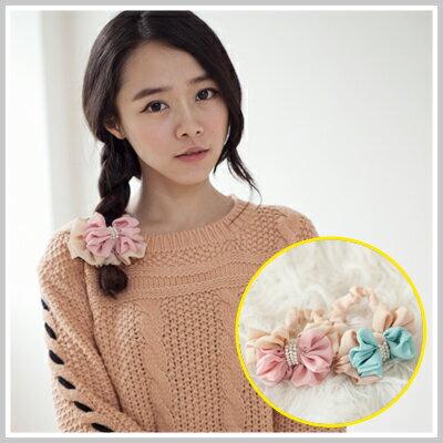 ☆雙兒網☆Lazyorpretty【o2077】韓國棉花糖女孩雙層蝴蝶結配色珍珠髮圈