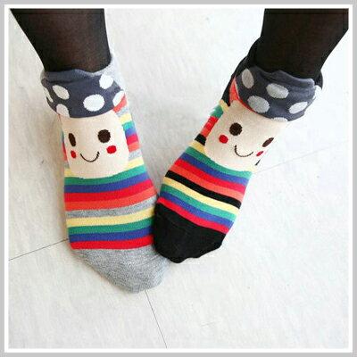 ☆雙兒網☆Lazyorpretty【o2082】韓國超可愛磨菇笑臉條紋短襪