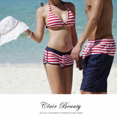 ☆雙兒網☆海邊必備可搭配隱形胸罩【O2237】條紋繞頸後綁帶三件式泳衣 - 限時優惠好康折扣