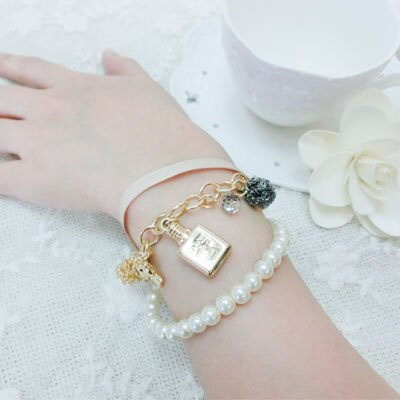 ☆雙兒網☆COCO香水緞帶珍珠手鍊【O2476】 1