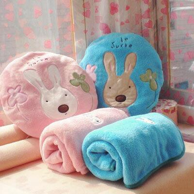 ☆雙兒網☆砂糖兔空調毯抱枕組-小【O2522】太空毯/午睡枕/靠頸枕 - 限時優惠好康折扣