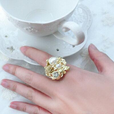 韓鑲金玫瑰珍珠戒指【O2648】☆雙兒網☆