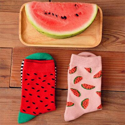 襪子韓系可口西瓜圖案短襪(一雙入)隨機出貨【O2764】☆雙兒網☆