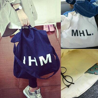 帆布包 時尚百搭MHL字母環保帆布袋肩背包【O2877】☆雙兒網☆