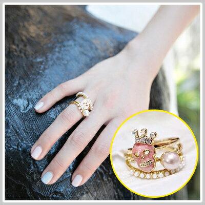 ☆雙兒網☆ Girl's walk【O816】韓國設計款骷髏頭小珍珠戒指3件一組
