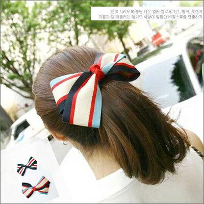 ☆雙兒網☆ 綺麗時分 【o971】韓復古海軍風清爽條紋髮夾