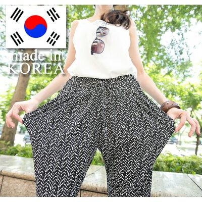☆雙兒網☆Girl'swalk【P847】正韓製個性韓妞必備腰部鬆緊寬口袋閃電幾何圖案長褲