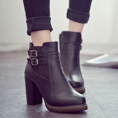 短靴 時尚明星粗高跟短靴騎士靴【S692】☆雙兒網☆