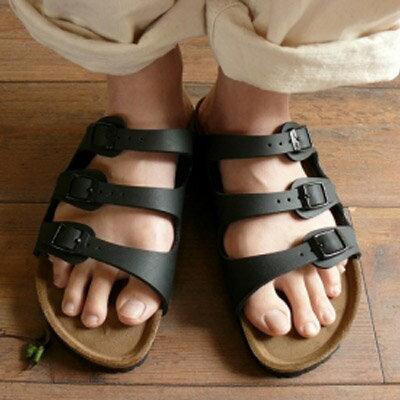 拖鞋 流行時尚金屬三扣軟木風拖鞋【S917】☆雙兒網☆ - 限時優惠好康折扣