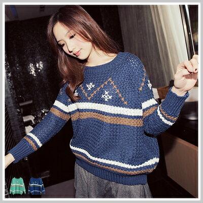 ☆雙兒網☆ Party two 【u2089】韓國幾何條紋圖案針織上衣