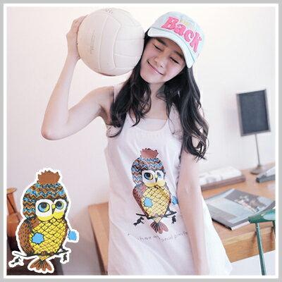 ☆雙兒網☆Sportyfever【U591】淘氣可愛貓頭鷹圖案長版背心