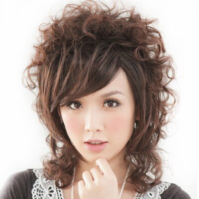 ☆雙兒網☆優質假髮【E0023】個性風酷媽咪摩登斜劉海短髮