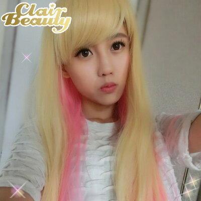混色挑染~Sweet Girl 草莓奶昔長直髮~耐熱整頂假髮【MC092】☆雙兒網☆ - 限時優惠好康折扣
